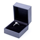 Jewelry box with elegant silver ring Royalty Free Stock Photography