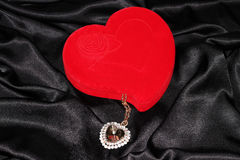 Jewelry box in the form of heart Royalty Free Stock Image