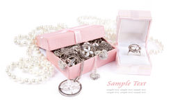 Jewelry  box full of silver. And accessories Stock Photos