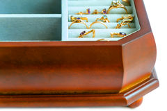 Jewelry box. Gold jewellery in a box Royalty Free Stock Image
