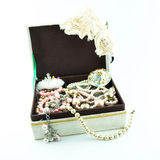 Jewelry box with jewelry Royalty Free Stock Images