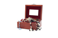 Jewelry box with jewelry Stock Images