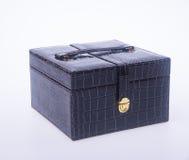 jewelry box or leather jewelery box on background. Stock Photos