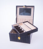 Jewelry box or leather jewelery box on background. Royalty Free Stock Photos