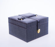 Jewelry box or leather jewelery box on background. Royalty Free Stock Image