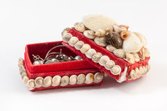 Jewelry box made from seashell Stock Photos