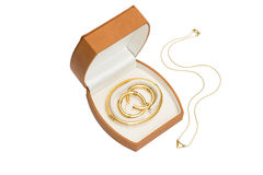 Jewelry box with necklace. On white Stock Images