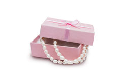 Jewelry box and pearl necklace Royalty Free Stock Image