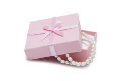 Jewelry box and pearl necklace Royalty Free Stock Photos