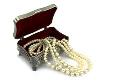 Jewelry box and pearl necklace Royalty Free Stock Images