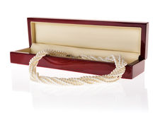 Jewelry box with pearl necklace Royalty Free Stock Photos