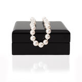 Jewelry box with pearl necklace Stock Images