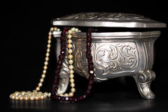 Jewelry box with pearls Stock Image