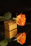 Jewelry box and a rose Stock Photo