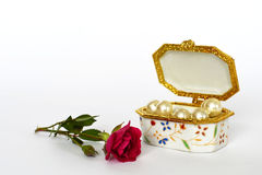 Jewelry box and rose Royalty Free Stock Photo