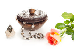 Jewelry with box and rose Royalty Free Stock Photos