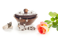 Jewelry with box and rose Royalty Free Stock Photo
