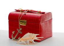 Jewelry box and sea shell. Royalty Free Stock Photography