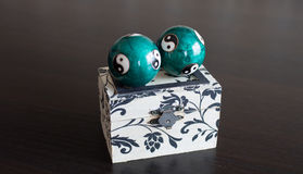 Jewelry box with two ball Royalty Free Stock Photo