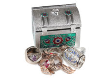 Jewelry and box two Royalty Free Stock Photography