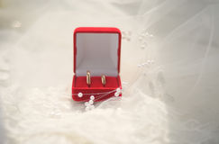 Jewelry box with wedding rings Royalty Free Stock Images