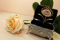 Jewelry box with white rose Stock Photography