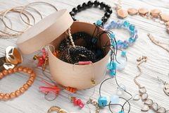 Jewelry and box royalty free stock photography