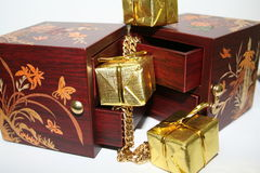 Jewelry boxes. And christmas presents stock photography