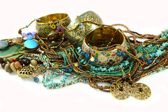 Jewelry. Bracelet,Necklace,Earrings,mix in one picture Royalty Free Stock Photo