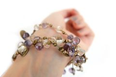 Jewelry Bracelets Isolated for Top View. Woman is Hand with Stone or Beads Bracelet for Accessories on White Background. Great For Any Use Royalty Free Stock Image