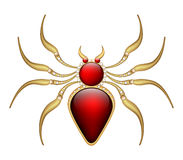 Jewelry brooch amulet red spider in gold with precious stones Stock Image