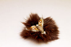 Jewelry brooch. Beautiful jewelry - brooch bird fur Royalty Free Stock Photography