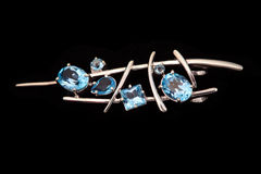 Jewelry Brooch With Blue Topaz Stock Images