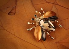 Jewelry bug brooch with gemstone on yellow leaves background, c stock photo