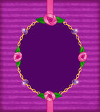 Jewelry card with pink roses, gold chain and amethyst Stock Images