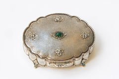 jewelry casket. Silver jewelry casket on white background isolated Royalty Free Stock Photo