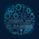Jewelry cleaning vector blue circular outline illustration. Jewelry cleaning vector blue circular illustration made with jewellery creative linear icons on dark vector illustration
