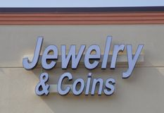 Jewelry and Coin dealer shop Royalty Free Stock Photos
