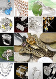 Jewelry collage. Collage of jewelry, studio photos Royalty Free Stock Photos