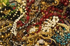 Jewelry collection. Close-up shot of vintage jewelries showing shapes and textures royalty free stock photo