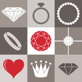 Jewelry collection. Icon set Stock Photo