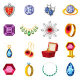 Jewelry collection icons set, cartoon style. Jewelry collection icons set. Cartoon illustration of 16 jewelry collection items vector icons for web royalty free illustration