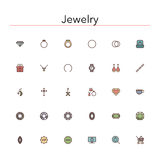 Jewelry Colored Line Icons. Set. Vector illustration Stock Image