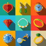 Jewelry colorful flat icons set with long shadow -. Rings, diamonds, watch, earrings, pendant, cuff links, necklace. Vector illustration Stock Photo