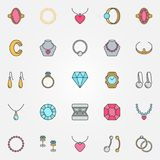 Jewelry colorful icons set. Vector earrings, ring signs. Jewelry colorful icons set. Vector chain, earrings, ring, bracelet, necklace and other luxury creative Stock Illustration