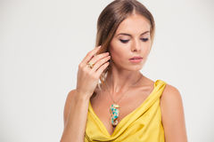 Jewelry concept. Portrait o a fashion woman Stock Photography