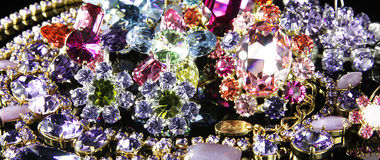Jewelry. Costume jewelry with swarovski crystals royalty free stock photo