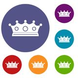 Jewelry crown icons set. In flat circle red, blue and green color for web Stock Photo