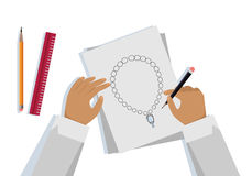 Jewelry Design Banner. Jeweler designs on paper expensive jewelry necklace. Drawing on paper. Craft jewelry making. A handmade jeweler process, manufacture of Stock Photo