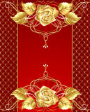 Jewelry design with a gold rose royalty free illustration